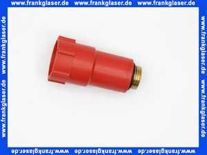 Baustopfen 1/2  Rot mit Messinggewinde, O-Ring und Innensechskant zur Demontage