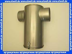 Edelstahl-Abgasschalldämpfer DN 150 Schalldämpfer in T-Form mit abnehmbarer Bodenplatte