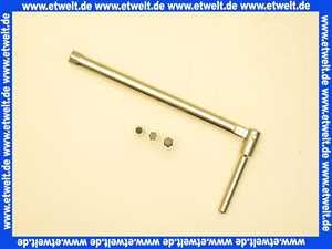 Standhahnmutternschlüssel SW13 mit Adaptern SW 8/10/11 mm Universalschlüssel für Einhebel-Mischbatterien. Länge: 250 mm bis zum Gelenk Ganze Länge: 360 mm inkl. Griffstück