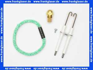 Wartungsset Wartungssatz für Buderus Heizkessel G115 mit Öl Blaubrenner BE 1.0 oder 1.1 21 KW (Stahlbrennerrohr) für die jährliche Wartung komplett mit Zündelektroden, Brennerrohrdichtung und Öldüse