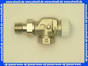 Heimeier Thermostatventil Axialform Rotguß vernickelt DN 15 R 1/2 Zoll