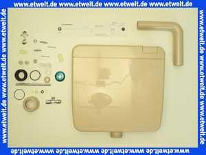 1681310010600 Jomo Aufputz Spülkasten Modell Nixe tiefhängend bahamabeige mit Spül- Stopptaste im Deckel integriert