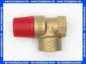 Membran-Sicherheitsventil für Heizungsanlagen 1/2 Zoll x 3/4 Zoll 3 bar messing