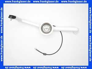 678579 Viega Ablaufventil für Spülen mit 90 mm Ablaufloch mit Bowdenzugmechanik, mit rundem Überlauf und Überlaufsieb, mit Siebventil, Ventilkegel und Ablaufbogen Modell 7139.162
